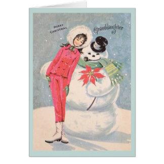Retro Granddaughter Christmas Card