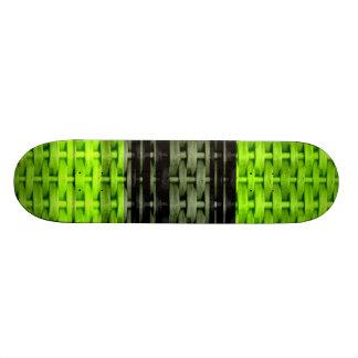 Retro green and black art wicker graphic design skateboard deck