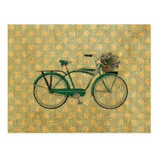 Retro Green Bike with Flower Basket Postcard