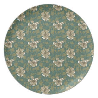 Retro Green Floral Party Plates