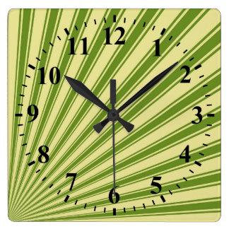 Retro Green Funky Sun Rays Background Square Wall Clock