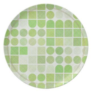 Retro Green Geometric Pattern Plates