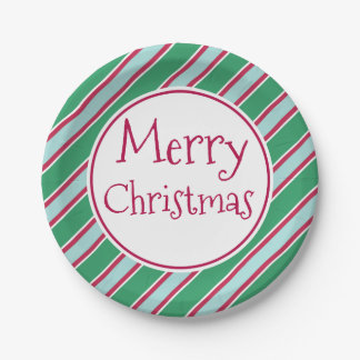 Retro Green Merry Christmas Party Paper Plates 7 Inch Paper Plate