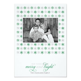 Retro Green Snowflake Holiday Photo Card Custom Announcements