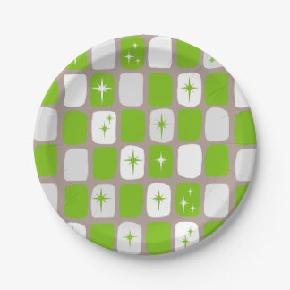 Retro Green Starbursts Paper Plates 7 Inch Paper Plate