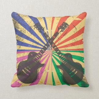 Retro Grunge Guitars on starburst background Cushion