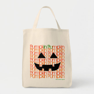 RETRO HALLOWEEN PUMPKIN Jack-o-lantern Trick Treat Grocery Tote Bag
