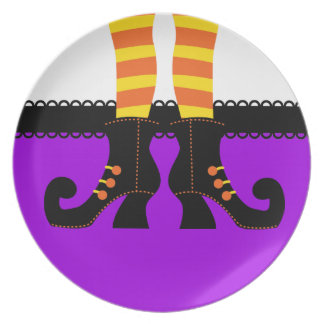 Retro Halloween Witch Party Plates