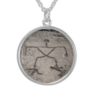Retro Hawaiian Petroglyph - Vintage Petroglyphs Sterling Silver Necklace