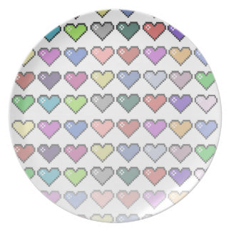 Retro Hearts Party Plate