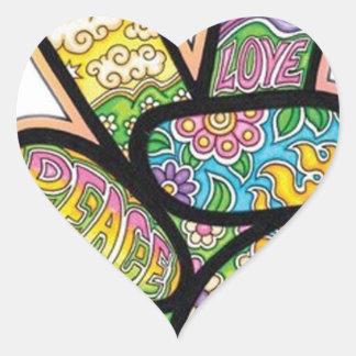 Retro Hippie Peace Heart Sticker
