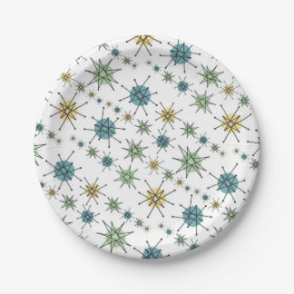 Retro Hipster Space Age Atomic Starburst 7 Inch Paper Plate