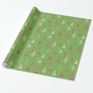 Retro Holiday Christmas Trees Gift Wrap Green