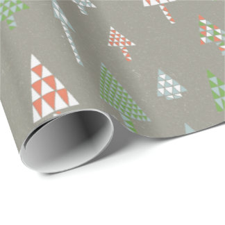 Retro Holiday Christmas Trees Gift Wrap Metal