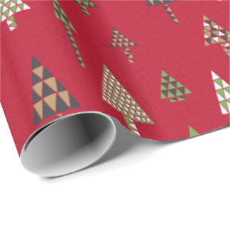 Retro Holiday Christmas Trees Gift Wrap Red