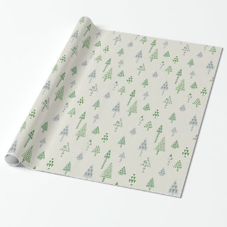 Retro Holiday Christmas Trees Gift Wrap Silver