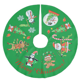 Retro Holiday Images Brushed Polyester Tree Skirt