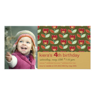 Retro Holiday Tulip Family Greeting Photo Card Personalized Photo Card