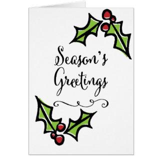 Retro Holly Season's Greetings Card