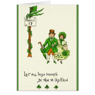 Retro Irish Hearts Be True St. Patrick's Day Card