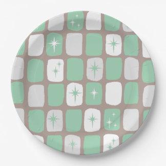 Retro Jade Starbursts Paper Plates 9 Inch Paper Plate