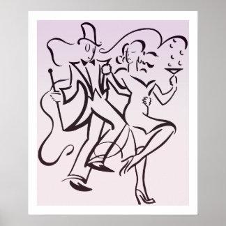 Retro jazz age line art deco couple dancing party posters