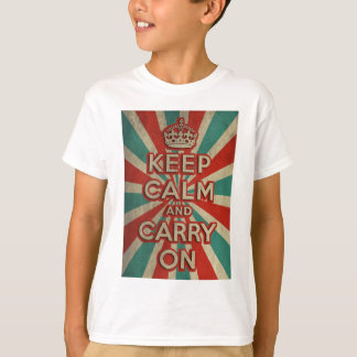 Retro Keep Calm And Carry On T-Shirt