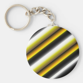 Retro kind Deco touched in black-and-white yellow Basic Round Button Key Ring