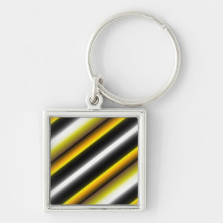 Retro kind Deco touched in black-and-white yellow Silver-Colored Square Key Ring
