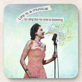 Retro Lady Life Is A Musical Sing Coasters