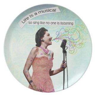 Retro Lady Life Is A Musical Sing Decorative Plate