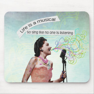 Retro Lady Life Is A Musical Sing Mousepad