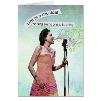 Retro Lady Life Is A Musical Sing Notecard Note Card