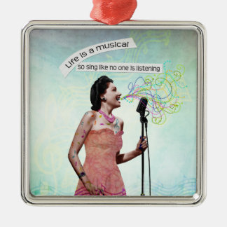 Retro Lady Life Is A Musical Singing Ornament