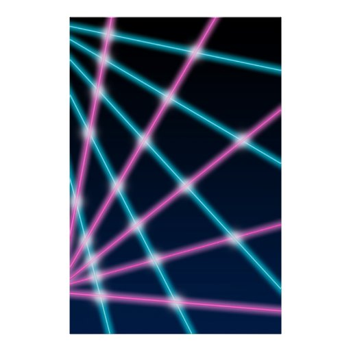 Retro Laser Photo Backdrop 80s 90s Neon Lights Print