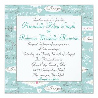 Retro Lesbian Wedding Invitations
