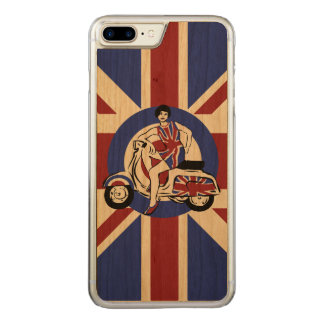 Retro look sixties British scooter girl Mod art Carved iPhone 8 Plus/7 Plus Case