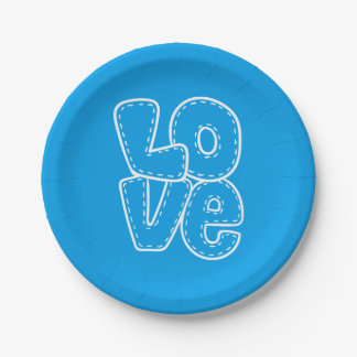 Retro Love Azure Blue & White Wedding / Party 7 Inch Paper Plate