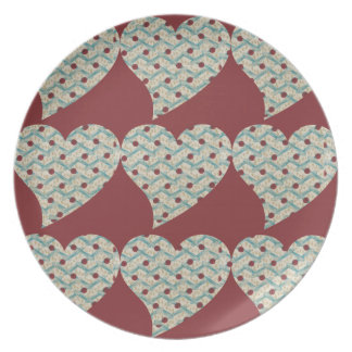 Retro love Pattern Dinner Plate