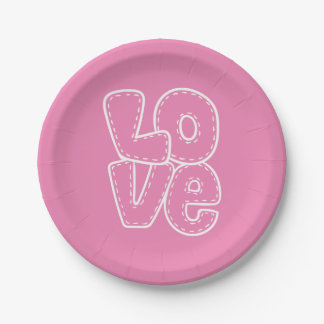 Retro Love Pink & White Wedding / Party 7 Inch Paper Plate