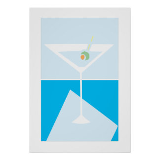 retro martini glass poster