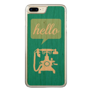 Retro Mint Retro Phone Hello on Wood Carved iPhone 8 Plus/7 Plus Case