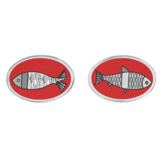 Retro Modern Fish, Deep Red and Gray / Grey Silver Finish Cufflinks