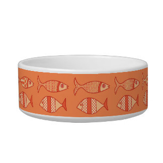 Retro Modern Fish, Light Coral Orange & Tangerine Cat Food Bowl