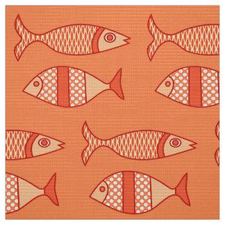 Retro Modern Fish, Light Coral Orange & Tangerine Fabric