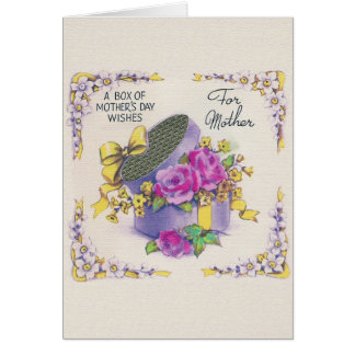 Retro Mother's Day Hat Box Greeting Card