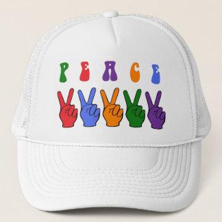 Retro Multicolor Peace Hand Trucker Hat