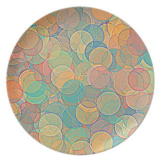 Retro MultiColored Abstract Circles Pattern Dinner Plates