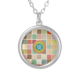 Retro Multicolored Square Pattern. Love Design Personalized Necklace