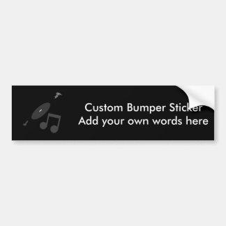 Retro Music Record Note Black Bumper Stickers